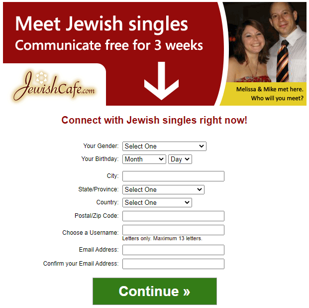 JewishCafe Sign Up Process